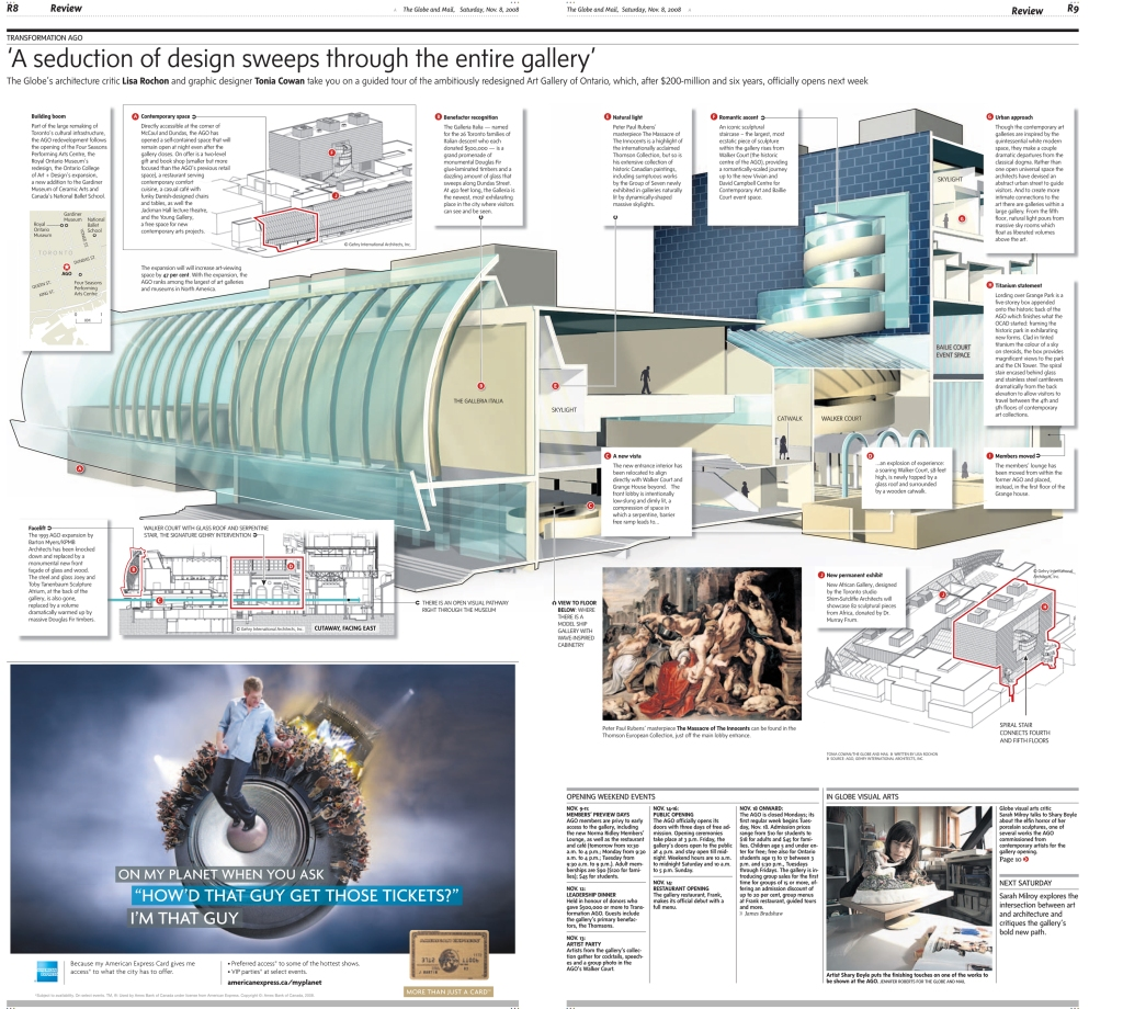 Infographic, created in Lightwave and Illustrator, details renovations to the Art Gallery of Ontario, for The Globe and Mail