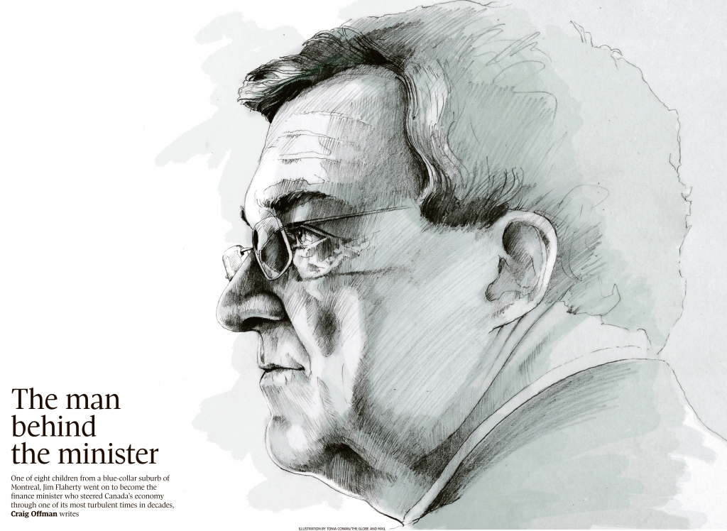 Finance Minister Jim Flaherty. Drawn for tThe Globe and Mail's folio page.