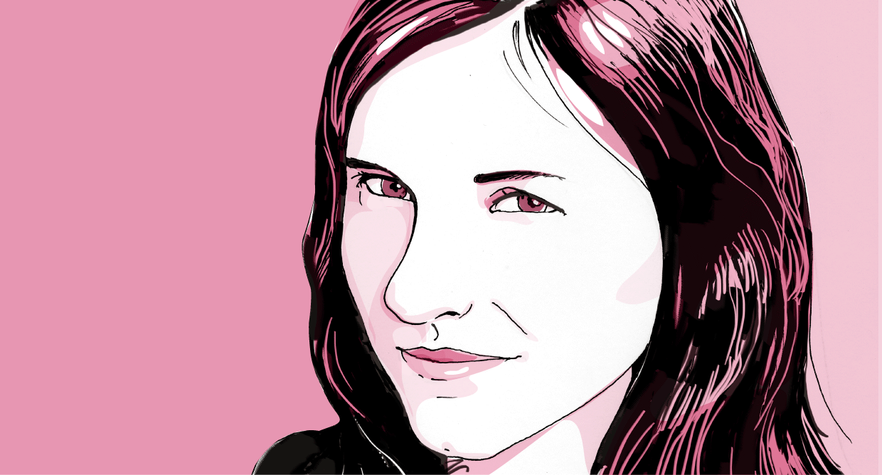 Author, Claire Battershill, drawn for The Globe and Mail